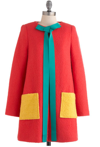 Your illustrations are rife with playful imagery, eye-catching colors, and imaginative accents - and so are your effortless outfits! Whether you're heading out to meet collaborators or to catch up with friends, this coat by Hong-Kong-based brand Nishe always illuminates your look. Since 2008, this artfully designed brand has charmed fashion-lovers with a darling combination of fun, feminine elements. Its papaya-pink body, banana pockets, and green bow provide a darling palette for your sartorial composition. Connect its hook-and-eye clasps over a striped blouse, violet skinnies, and a pair of bow-accented flats, and set off with your portfolio in hand. With this masterpiece in your outfit, you'll look as vibrant and vivid as your designs! This coat scores a 3.0 out of 5 on our Coat Warmth Scale$199