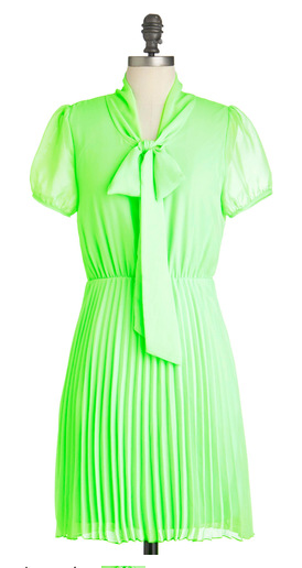 Always one to plan ahead, today you and your style is flying by the skirt of this fluorescent-green frock! Just sliding into these neon threads gives you a spontaneity you didn't know you had. This fun frock blends classic design and modern color, with its sheer short sleeves, neck tie, and pleated A-line skirt bursting through its shining electric-chartreuse hue. Pair it with complementary lavender platform heels, coral rosette earrings, and a fruit print purse, for a look that makes you feel dazzling and fierce!$52.99