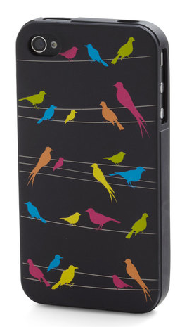 When your friends finally settle on some entertaining plans for the evening, they don't leave you hanging! With the press of a button, they can make your phone chirp a delightful melody that matches the fly design of this iPhone case. Perched on pale peach power lines, this flock of brightly colored birds is an appropriately energetic complement to your iPhone 4 or 4S. Just pop your digital companion into this flexible case and don your charming feather-clad boots - then you'll be ready to spring from your nest and show off your sweet taste as you soar across town to meet your pals$11.99