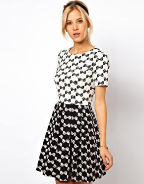 ASOS Skater Dress In Bow Jacquard