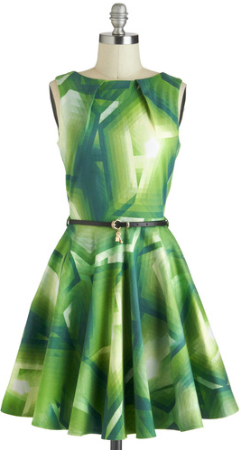 Luck Be a Lady Dress in Green Prisms$74.99