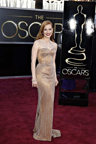 "Jessica Chastain, best actress nominee for her role in ""Zero Dark Thirty"", arrives at the 85th Academy Awards in Hollywood"