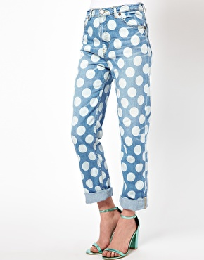 House of Holland Cropped Boy Jeans with Polka Dot Print $207.29