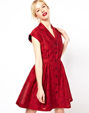 Boutique by Jaeger Jaquard Polka Dot Shirtwaist Dress $223.23
