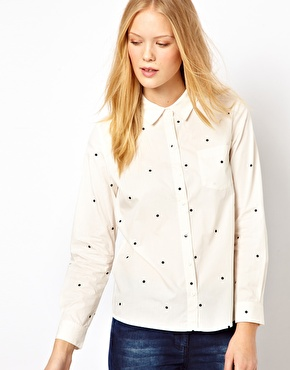 Selected Paul Shirt with Polka Dot Print $71.75
