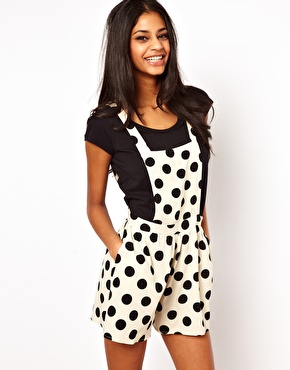 John Zack Pinafore Playsuit In Polka Dot $47.84