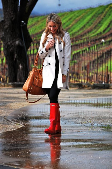 trench red wellies