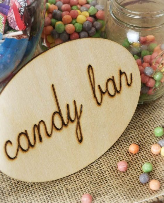 candy bar wood sign