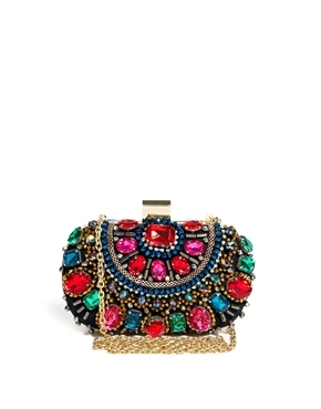 ASOS Aldo Enroelid Multicolour Gem Box Clutch $85.70